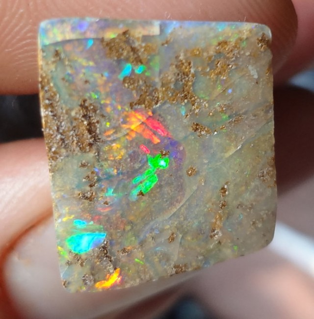 10.1 carat Lovely Multicolour Crystal Boulder opal with red, yellow flash