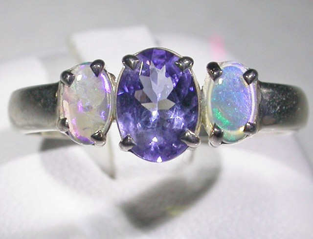 9 SIZE   CRYSTAL OPAL TANZANITE SILVER  RING [SOJ45003]