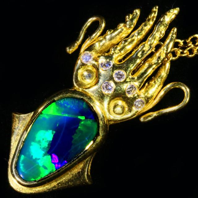 Fisherman Squid Opal pendant ck 1801