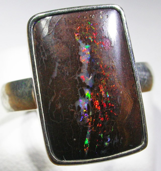 SIZE 9 BOULDER OPAL RING -NATURAL-SILVER [SOJ4561]