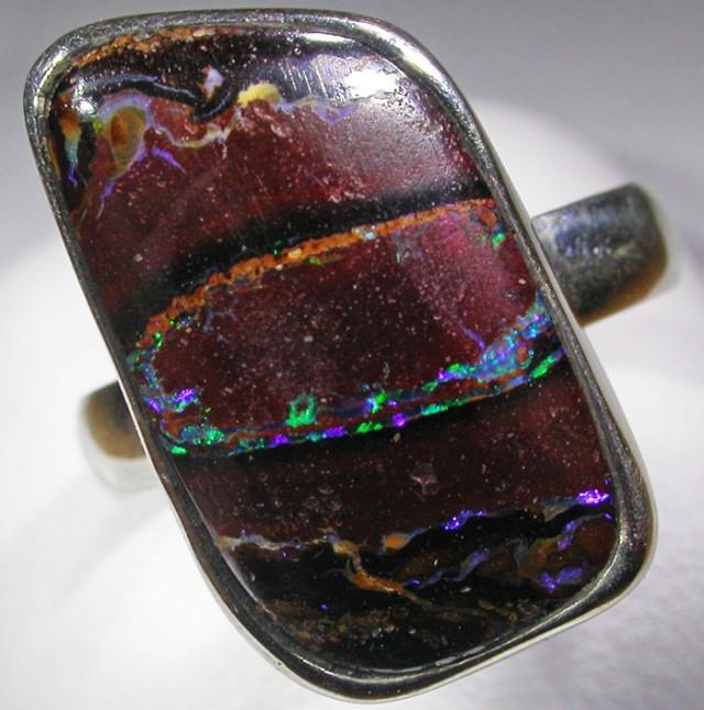SIZE 7.5 BOULDER OPAL RING -NATURAL-SILVER [SOJ4565]