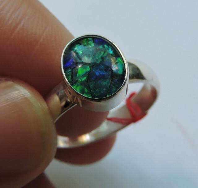 Aussie Mosaic  Opal Triplet  in silver Ring PL 1350