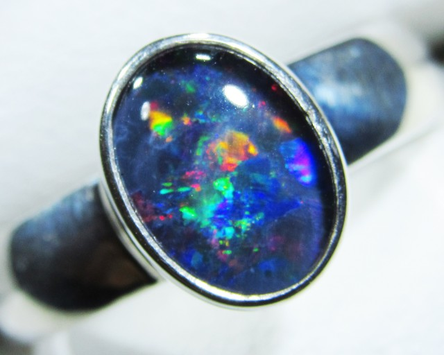Aussie Opal Triplet  in silver Ring PL 1384