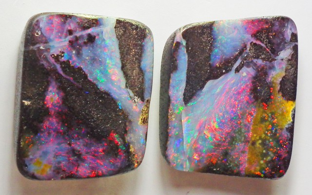 Boulder Opal Polished GEM COLOR 2 pieces  42.30carats