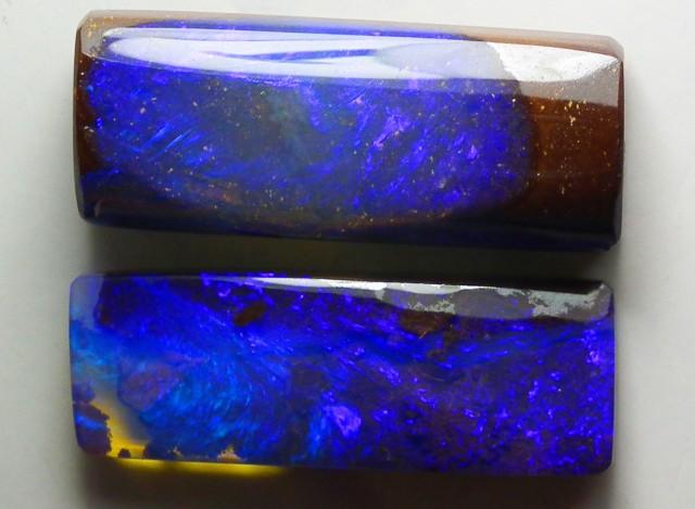 Boulder Opal Polished GEM COLOR 2 pieces  13.15 carats
