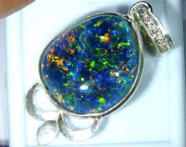 TRIPLET OPAL PENDANT SILVER 17.60 CTS OF-678