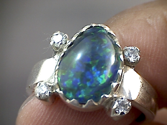 Beautiful Opal Ring 925 sliver  7.5 SP04