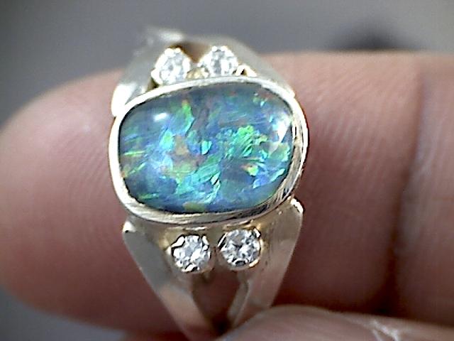 Beautiful Triplet Opal Ring 925 sliver  7 SP05