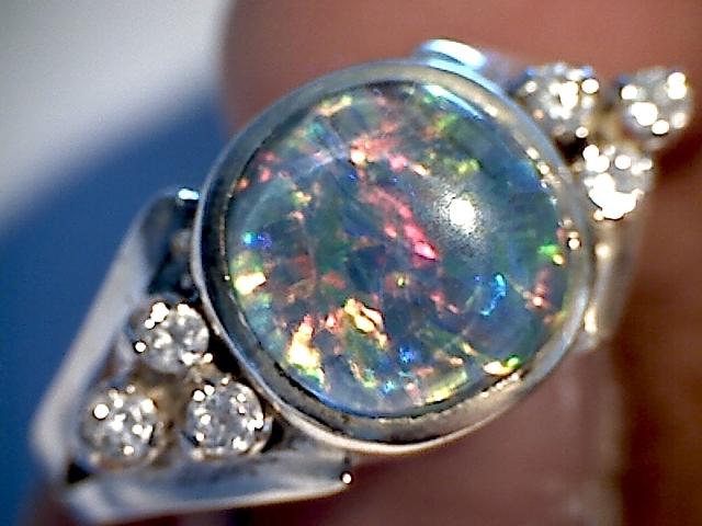 Beautiful Triplet Opal Ring 925 sliver  7 SP06