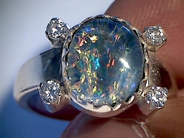 Beautiful Opal Triplet Ring 925 sliver  6.5 SP08