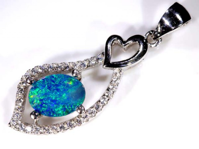 DOUBLET OPAL SILVER PENDANT  7.5 CTS   OF-760