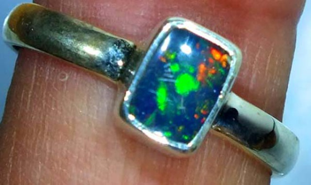 DOUBLET OPAL SILVER RING 9.85 CTS   OF-795