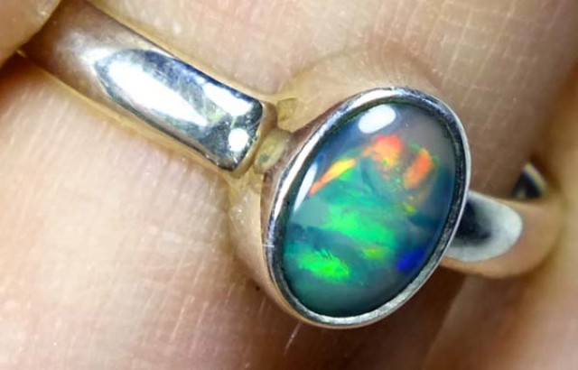 DOUBLET OPAL SILVER RING 9.75 CTS   OF-831