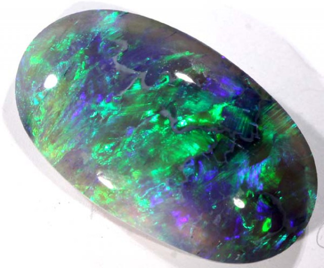 N4 SOLID BLACK OPAL CUT STONE L.RIDGE 2.8 CTS