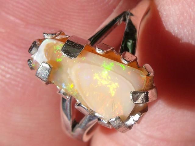 Bezel set Opal gem taxco silver ring sz 6.5