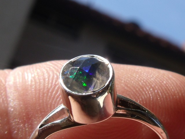 Bezel set Faceted Opal  gem silver ring sz 6.0