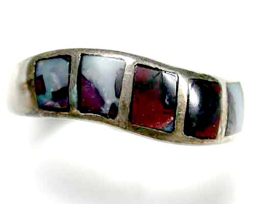 INLAY KOROIT OPAL SILVER RING SIZE 6  L617