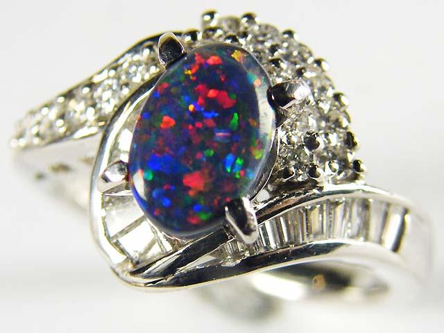 BLACK OPAL RING PLATINUM  RING, 16 DIAMONDS SCO 1236