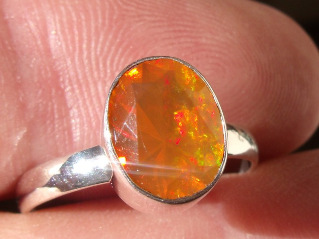 Bezel set Faceted Opal gem silver ring sz 6.5