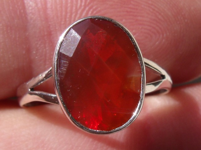 Bezel set Faceted Opal gem silver ring sz 7.5