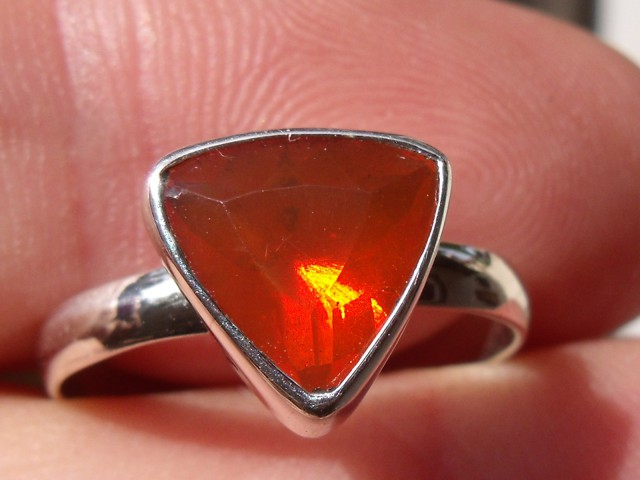 Bezel set Faceted Opal gem silver ring sz 6.25