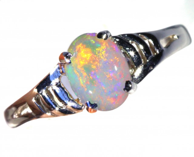 CRYSTAL OPAL 18K WHITE GOLD RING SIZE 5 H1708