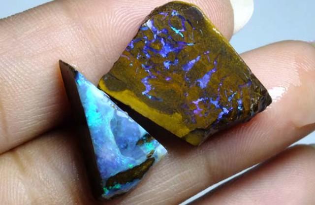 28.20cts Australian Boulder Opal Rough 2pcs C92