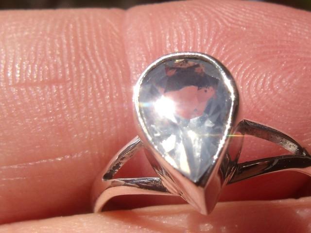 Bezel set Faceted crystal Opal gem silver ring sz 6.25