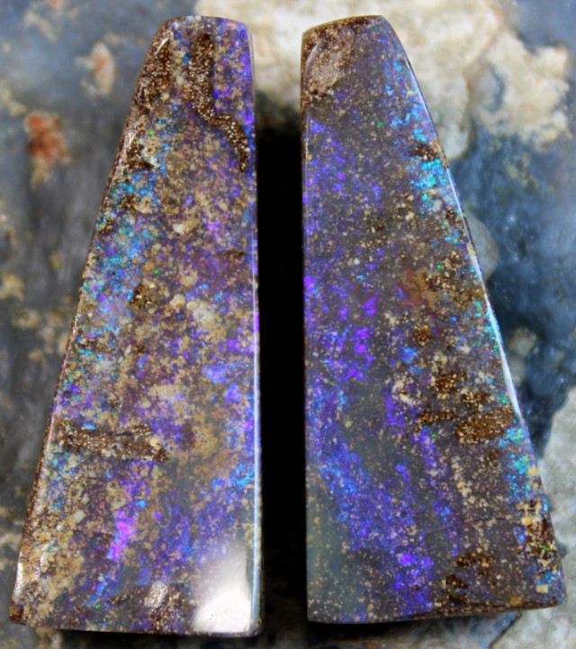 47.70 CTS BOULDER OPAL PAIRS - TOP TRIANGLE CUT C7861