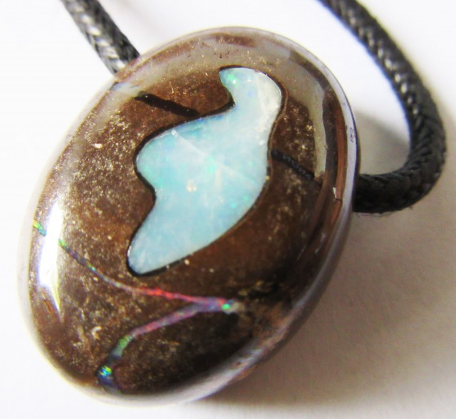 CTS  Boulder   Pendant  Opal Crystal  Inlay AGR343