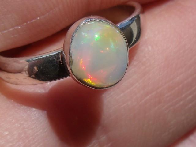Bezel set Virgin Valley Nevada opal gem silver ring sz 6.0