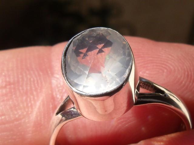 Bezel set Faceted crystal Opal gem silver ring sz 7.0
