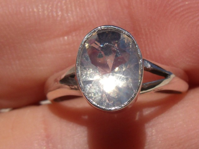 Bezel set Faceted crystal Opal gem silver ring sz 6.0