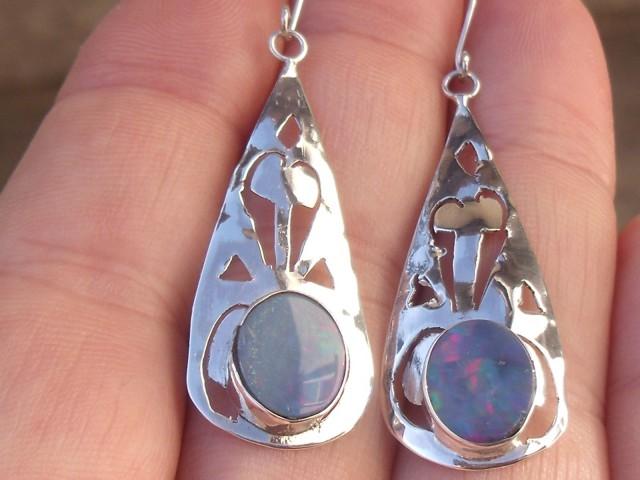 Doublet opal gem silver fashion earrings jewelry
