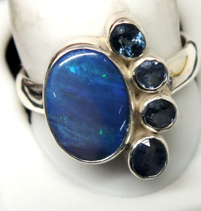 BLACK  OPAL AND AUSTRALIAN SAPPHIRE RING -[SOJ4808 ]SH