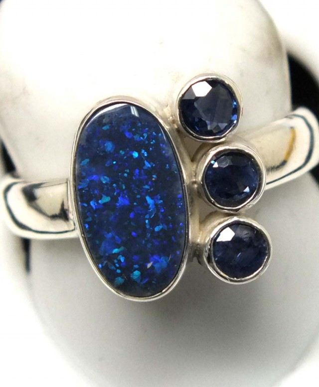 size harem blue yellow gold opal ring store sapphire princess thai