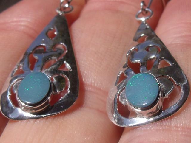 Sterling Silver Opal Doublet Earring