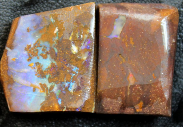102 CTS 2 PCS BOULDER OPAL RUB FACED FOR EASY CUTTING