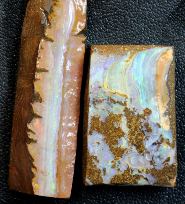 66 CTS 2 PCS BOULDER OPAL RUB FACED FOR EASY CUTTING