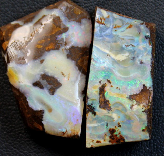 86.7 CTS 2 PCS BOULDER OPAL RUB FACED FOR EASY CUTTING