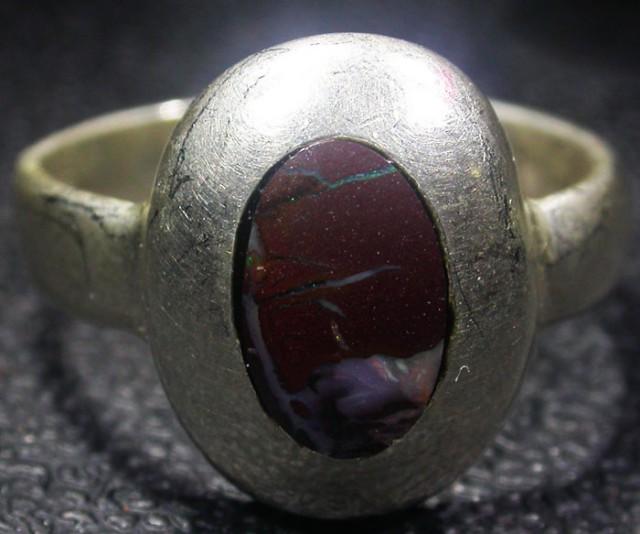 SIZE 7.5 Yowah opal  Silver Ring  AGR 672