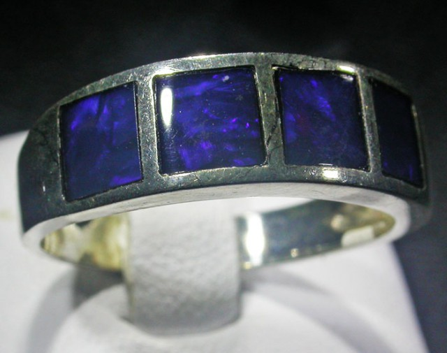 SIZE 8 Crystal opal inlay Silver Ring  AGR 1110