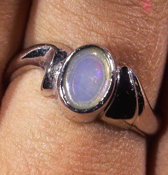 Solid Crystal Opal Silver Ring  AGR 1150