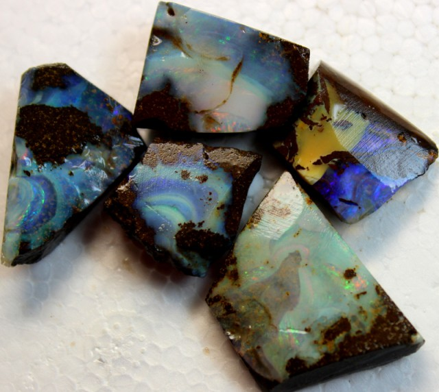 110 CTS 5 PCS BOULDER OPAL RUB FACED FOR EASY CUTTING PARCEL  ARR4573