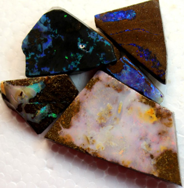 100 CTS 5 PCS BOULDER OPAL RUB FACED FOR EASY CUTTING PARCEL  ARR4584