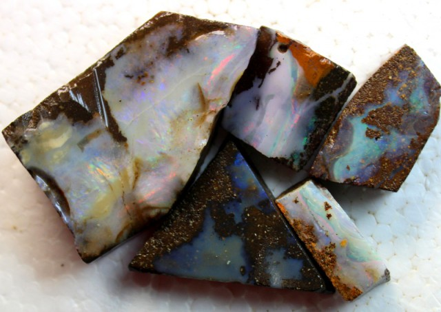 130 CTS 5 PCS BOULDER OPAL RUB FACED FOR EASY CUTTING PARCEL  ARR4600