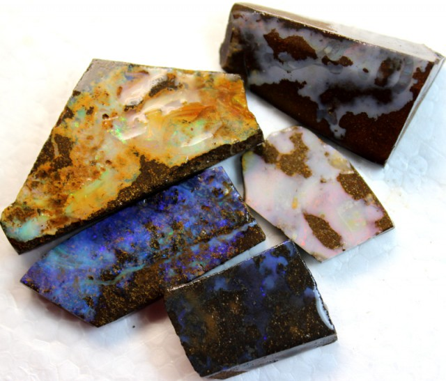 174 CTS 5 PCS  BOULDER OPAL RUB FACED FOR EASY CUTTING  ARR4626