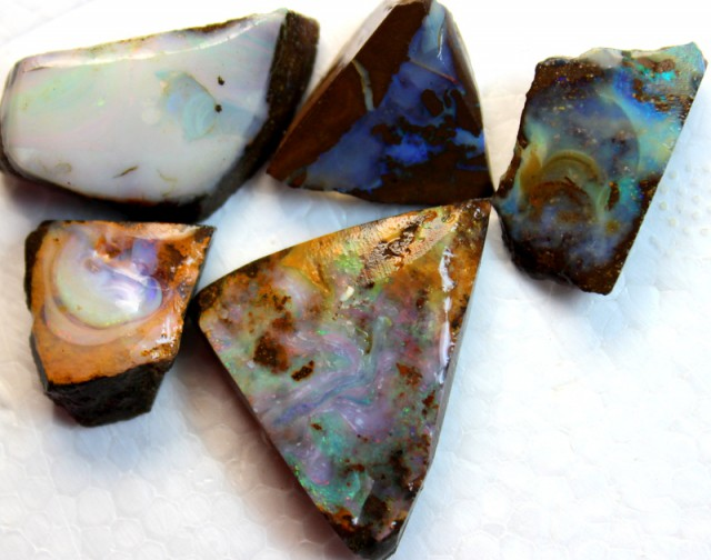 120.1 CTS 5 PCS  BOULDER OPAL RUB FACED FOR EASY CUTTING  ARR4635