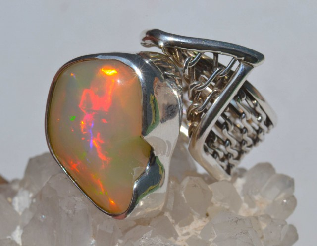 6-9Sz Natural Ethiopian Welo Opal .950 Sterling Silver Ring Mexican Taxco