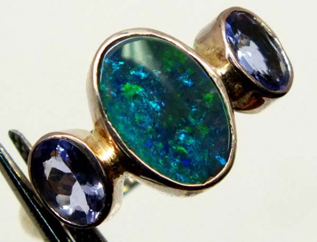 DOUBLET OPAL SILVER RING 16.9 CTS OF-986